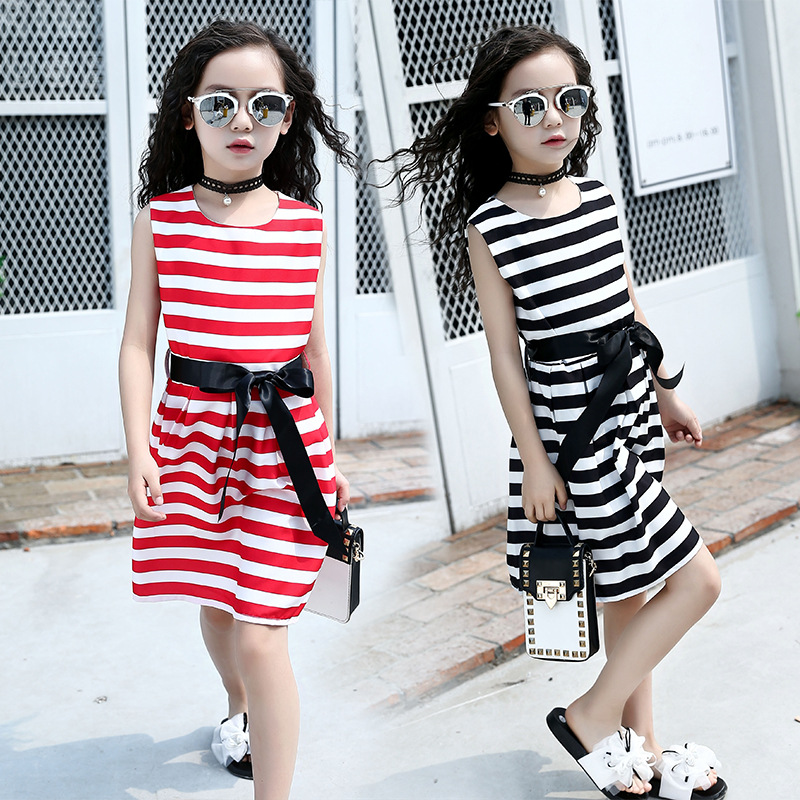 New Summer Children Clothes Girls Dress Fashion Sleeveless Striped Dress with Ribbons Big Kids Beach Party