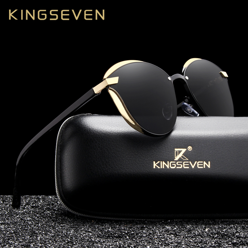 ce0a853f9 رخيصة KINGSEVEN القط العين النظارات الشمسية النساء الاستقطاب أزياء السيدات نظارات  شمسية الإناث خمر ظلال Oculos