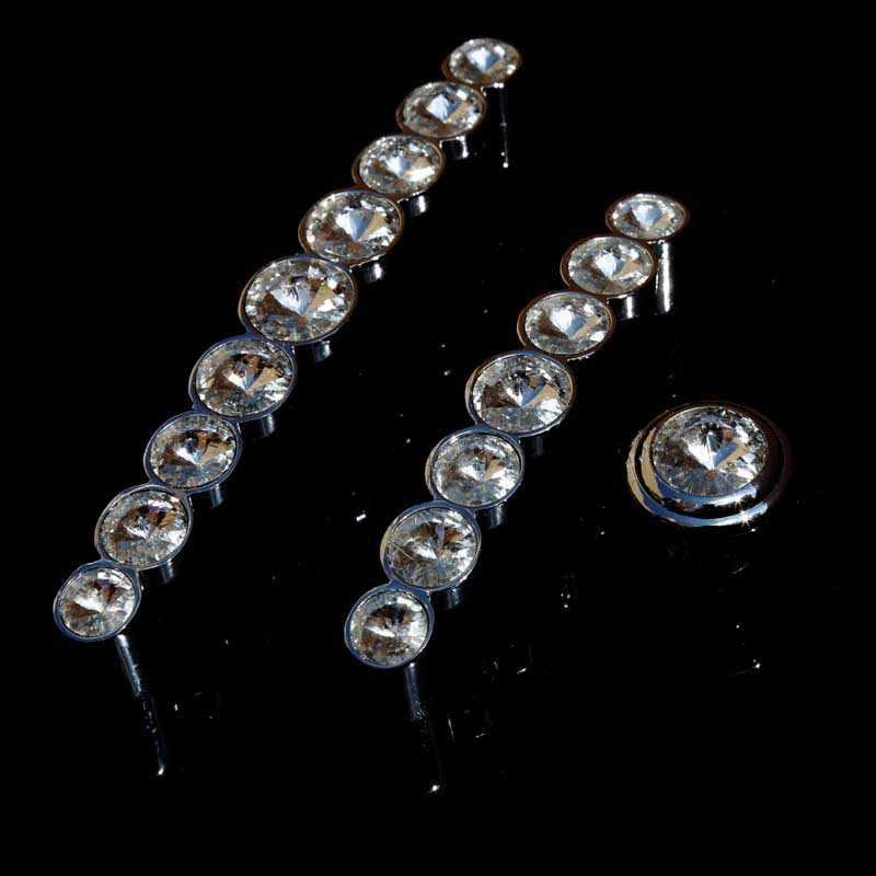 3.78/'/' 5/'/' Silver Chrome Dresser Handle Glass Crystal Drawer Pulls Handles Knobs Cabinet Handle Door Pull Knob Furniture Hardware 96 128mm