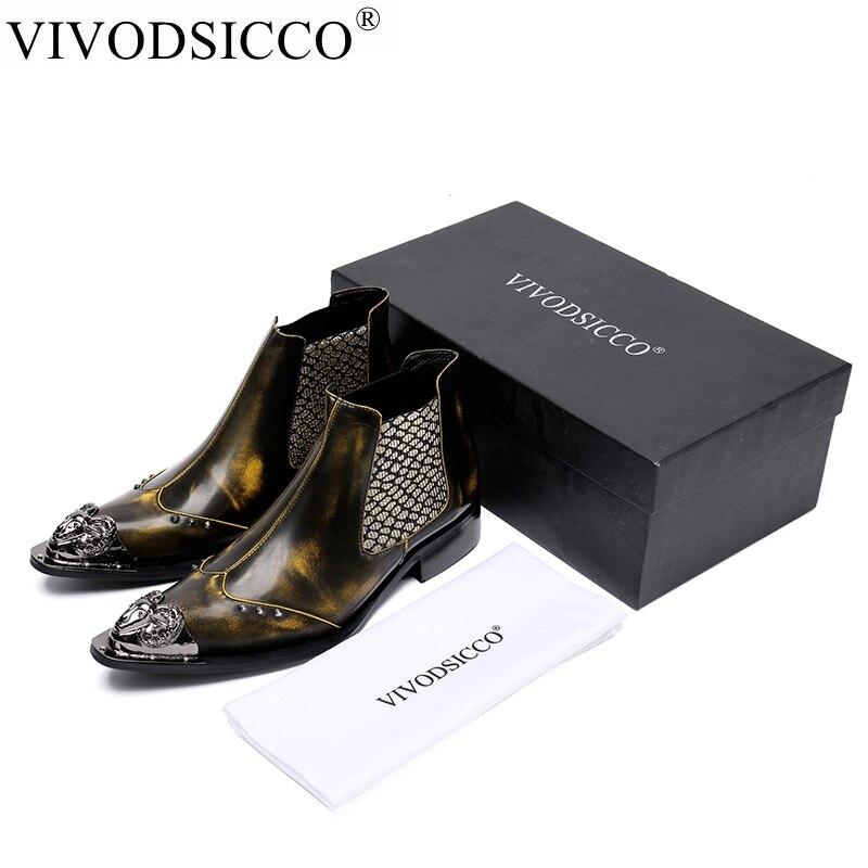 VIVODSICCO Designer Men Shoes Genuine Leather Booties Rivets Men Ankle Boots Business Party Men Slip-On Dress Shoes Cowboy Boots