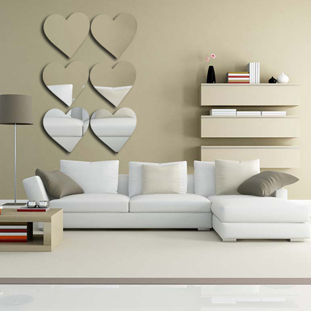 HEART Acrylic Mirror Wall Stickers DIY Art Wall Decor Wall Stickers Home  Decor Living Room Mirrored Part 70