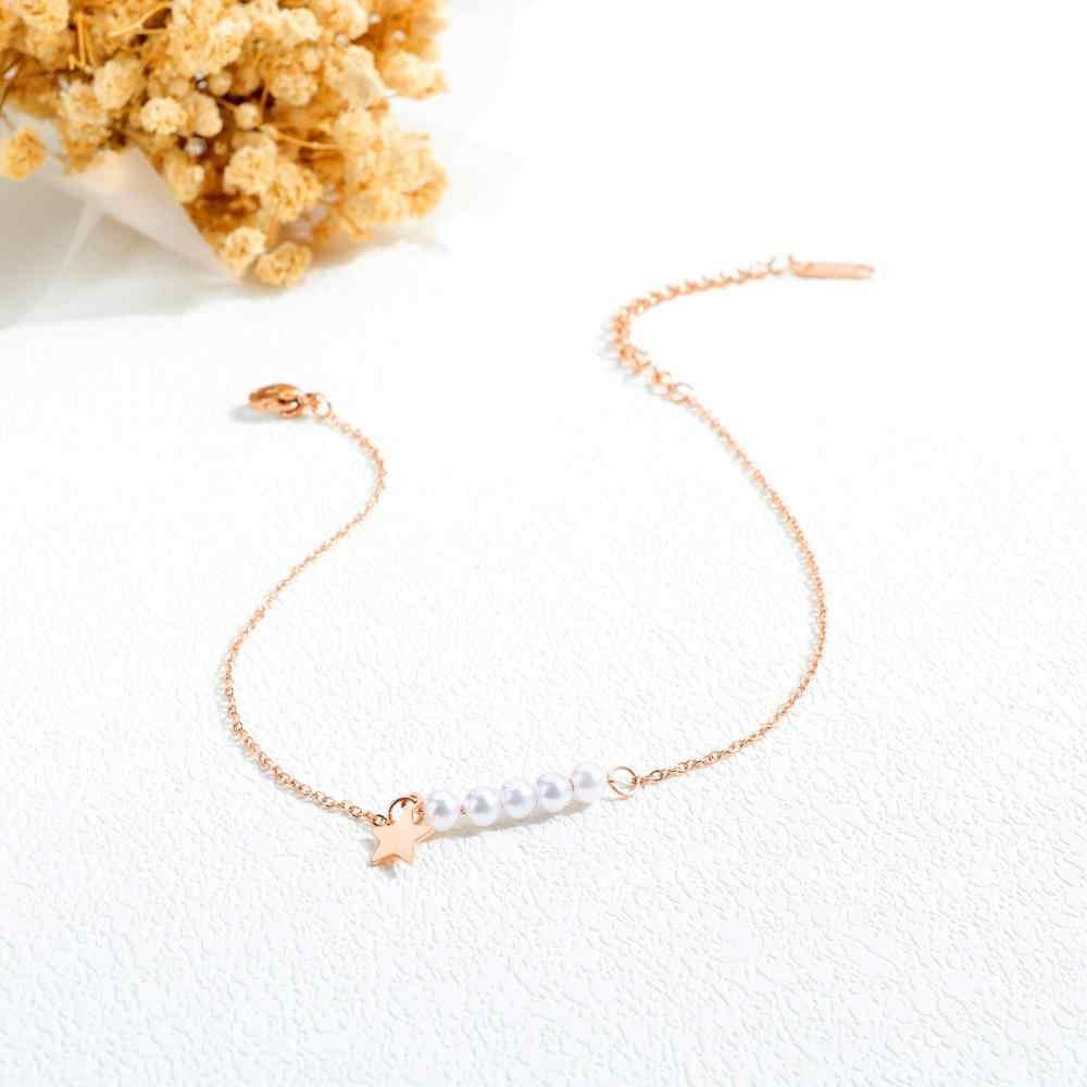 Warna Rose Gold Star Pearl Gelang untuk Wanita Pesona Besi Tahan Karat Wanita Gadis Musim Panas Kaki Perhiasan Hadiah Dropshipping
