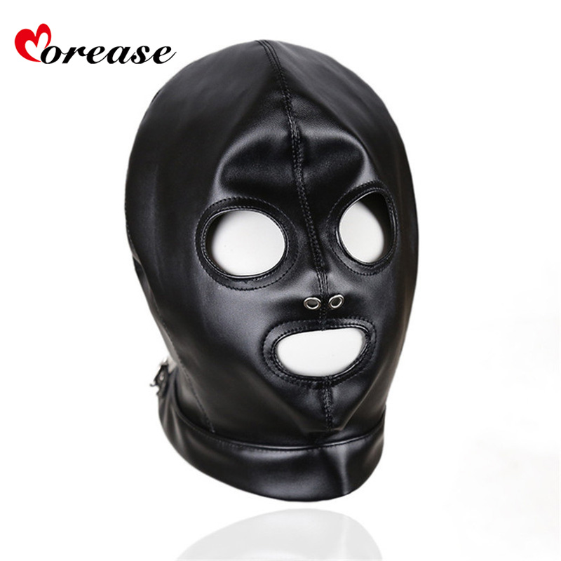 Morease Mask Sexy Bondage Leather Hood BDSM Erotic Adult Games Fetish Sex Toy Restraint brinquedos sexuais harness juguete women bondage harness sexy red black faux leather erotic gothic fetish toy slave teddy adult sex dress in adult games