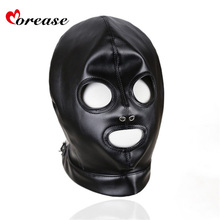Morease Mask Sexy Bondage Leather Hood BDSM Erotic Adult Games Fetish Sex Toy Restraint brinquedos sexuais harness juguete