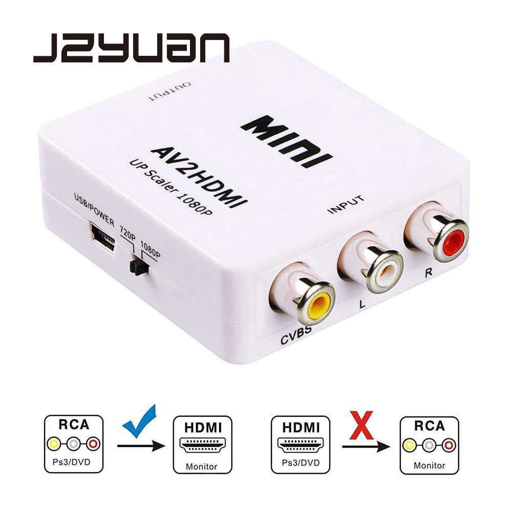 JZYuan Mini 1080 p AV compuesto RCA a HDMI Adaptador convertidor Video Full HD 720/1080 p a Scaler AV2HDMI para HDTV TV estándar L3EF