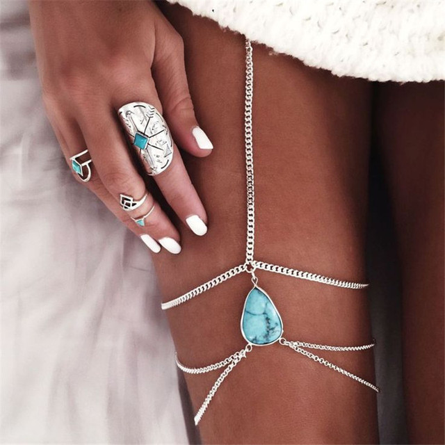 LUFANG Fashion Punk Cute Body Jewelry Waist Chain Stickers Bridal Wedding Blue Stone Bohemian  Sexy Body Jewelry Women