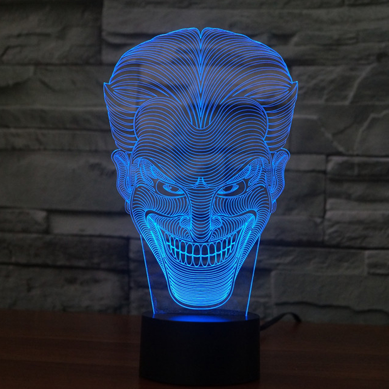 Jack Smile Face 3D Lamp Movie Character Laughing Joker Desk Lamp with 7  Colors Night Light Halloween Kids Gift C10083 - Portable Luminaire Desk Lamp Promotion-Shop For Promotional