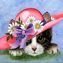 DIY diamond painting cat with red flower hats full round dimaond embroidery kitty mosaic color elephant