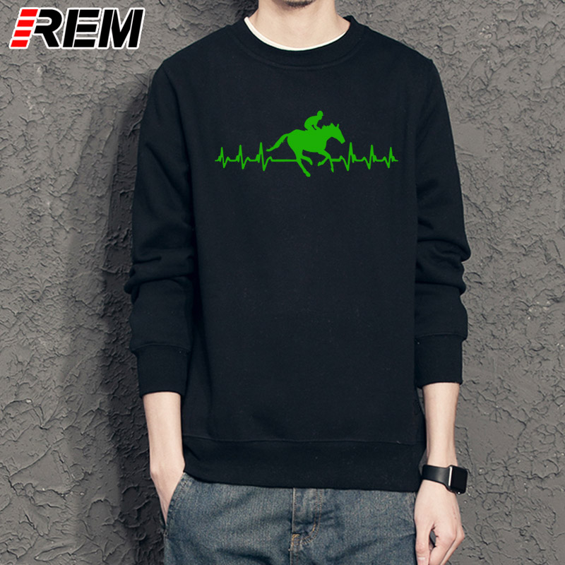 REM Men Hoodies, Sweatshirts Loose Clothes It's In My Heartbeat Horse Riding Youth Round Collar Customized Hoodies, Sweatshirts 1