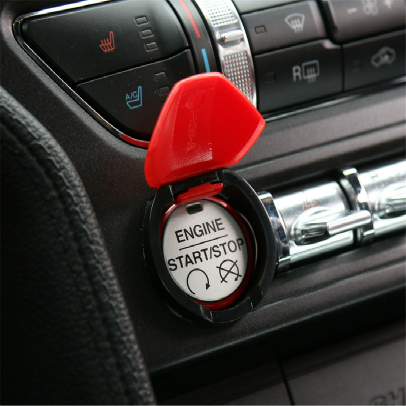 BBQ@FUKA Car Engine Start Stop Adjust Switch Button Cover Cap Car-covers Car Accessories ABS Fit For Ford Mustang 2015 2016 2017