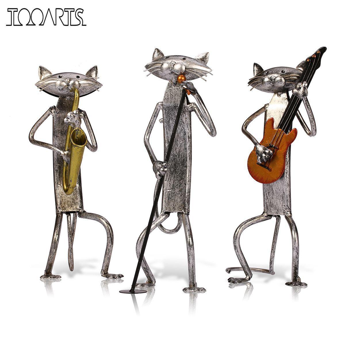 TOOARTS Orchestre Band Musicien Figurines 3 Mini Chat Animale Artisanat Moderne Sculpture Décoration de La Maison Accessoires Creative Cadeau