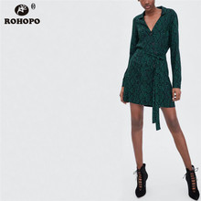 ROHOPO Snake Skin Autumn Dress Green Serpentine Button Fly Belted Mini Long Sleeve Ladies Vintage Flare Vestido #OYK8723