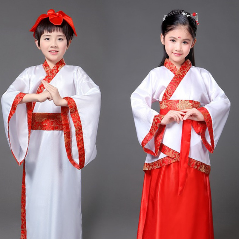 traditional Ancient Clothing boys chinese folk dance dance costumes girls children kids child tang dynasty costume hanfu dress
