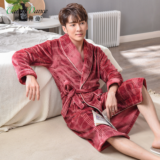 08589211e4 ... robes thickening velvet thermal bathrobe. Add Cart.  42.21. candy dance  Male s autumn winter flannel sleepwear ...