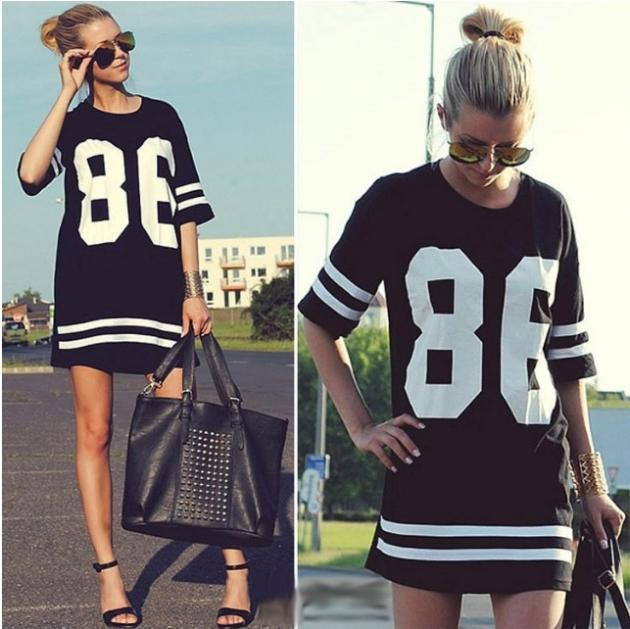 2016 Hot Sell T-shirt American Baseball Short Sleeve Loose Tee 86 Letters Printing Long Length Black Grey Tops