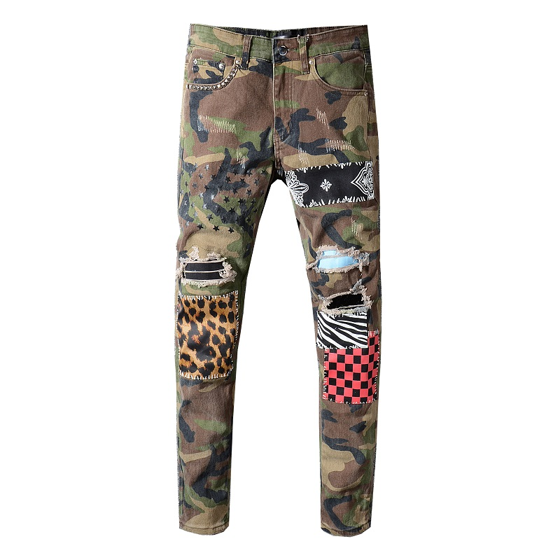 Sokotoo Men's camouflage leopard patchwork stars printed   jeans   Slim rivet holes ripped stretch denim pants Plaid trousers