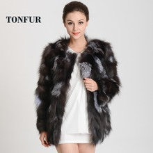 656a9d07585 2018 New Arrival Real Silver Fox Fur Coat Customize big size natural genuine  fox fur jacket