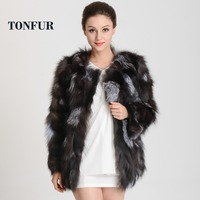 2019 New Arrival Real Silver Fox Fur Coat Customize big size natural genuine fox fur jacket ems dhl free shipping DHP398