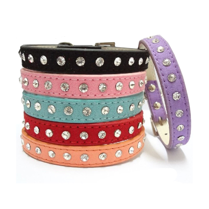 Bling Pet Dog Collar Led Pet Cat PU Kulit Leash untuk Anjing 1Row Berlian Imitasi Kalung Puppy Collar Pet Aksesoris Pet Collar