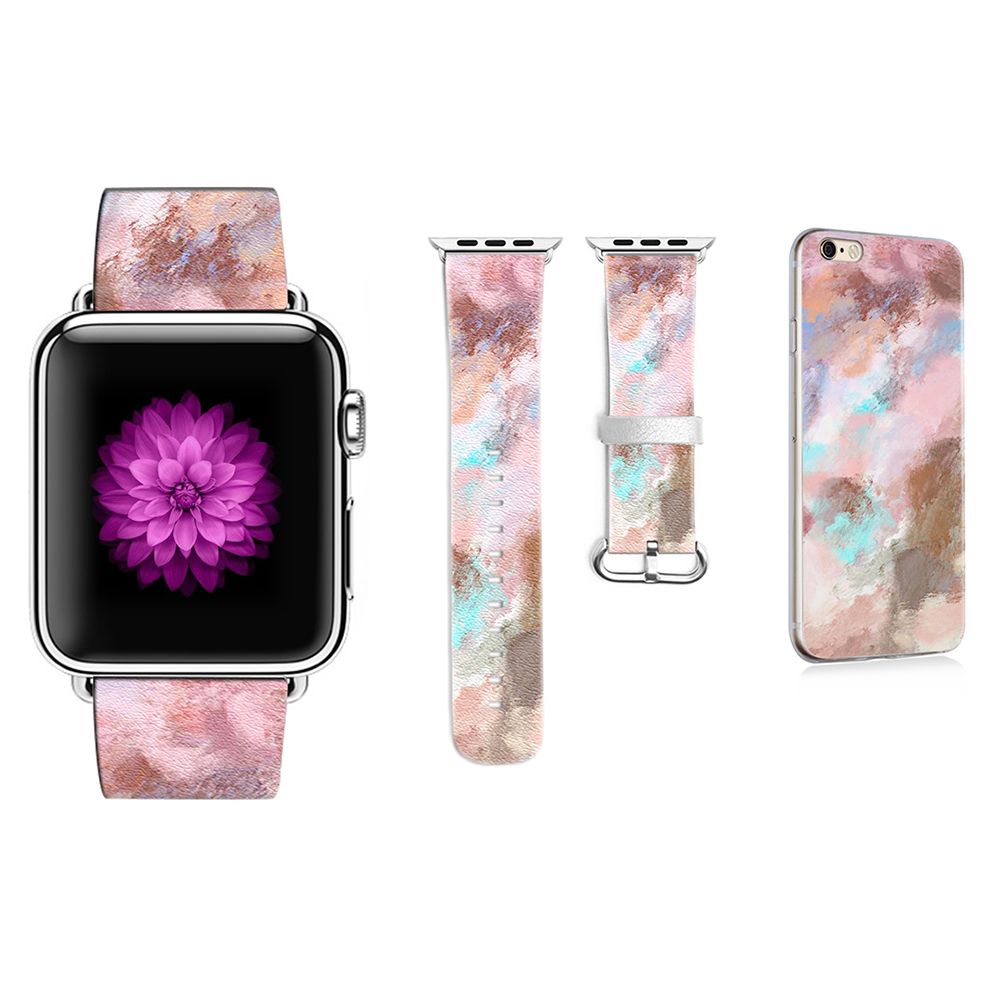 New Original Colorful Style Band for Apple Watch Series 1 2 3 Band 38mm 42mm Leather Strap for Iwatch Band Gift for IPhone Case original abstract art lines band for apple watch band 38mm 42mm leather for iwatch band series 1 2 3 gift for iphone case