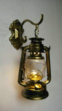 Vintage Iron Glass Wall Lamp E27 fashionable personalized Black Bronze Copper Kerosene Lamps