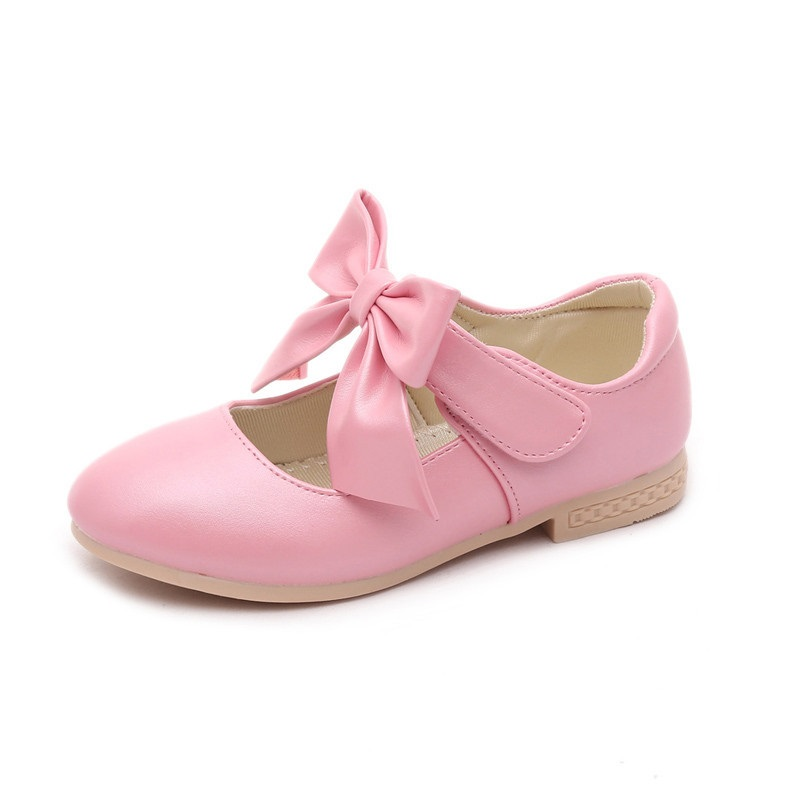 2018 Girls Leather Shoes Kids Princess Bow Tie Dress Shoes Girls Party Shoes Children Casual Flats Shoes Sandals Size 26-36