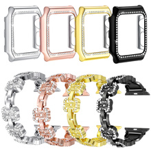 2PCS/Sets Faux Diamond Stainless Steel Band with Case for Apple Watch 3/2/1 42mm/38mm Iwatch Strap Bracelet Wrist Belt Watchband