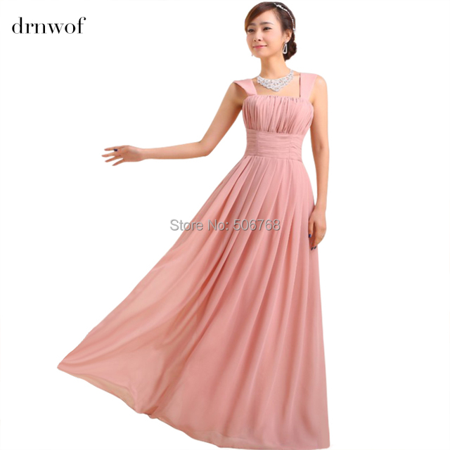 NEW women wedding two shoulder bridesmaid sleeveless chiffon dress ...