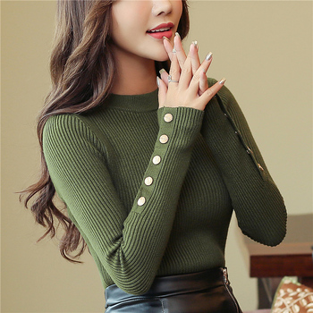 Fashion 2019 New Spring Autumn Women Sweater Knitted Long Sleeve O-Neck Sexy Slim Office Lady Button Casual Sweaters Tops 1