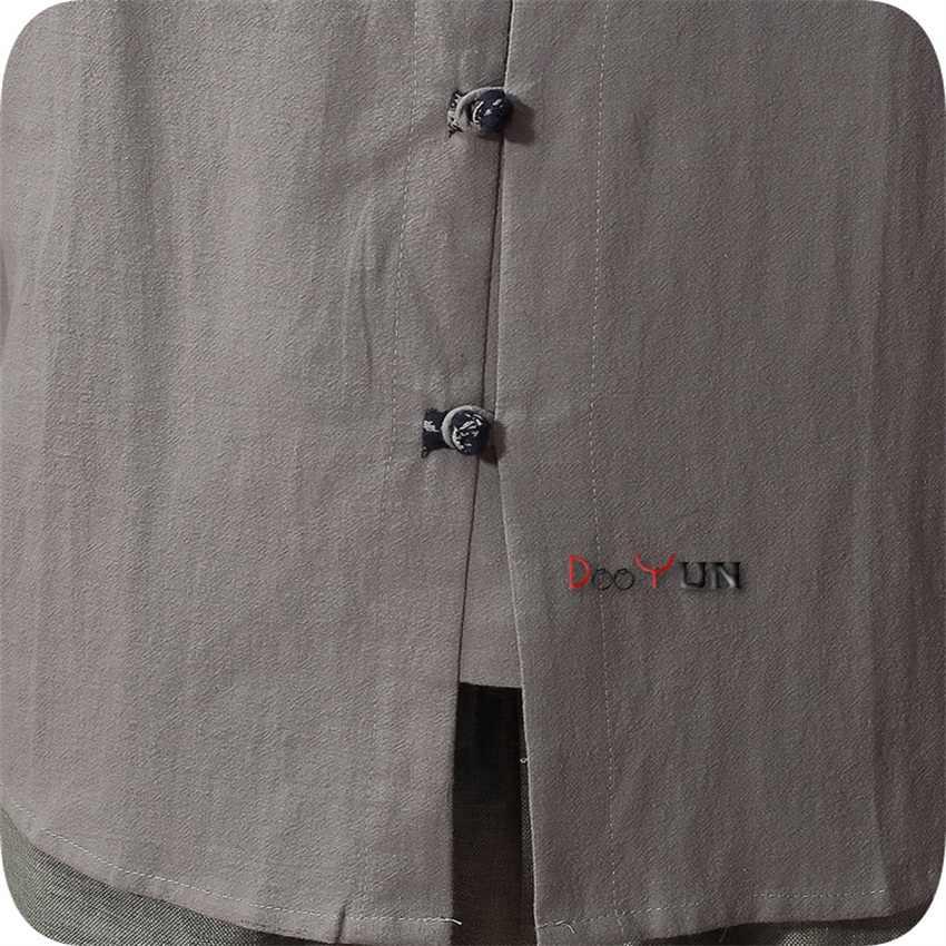 Hohe Qualität Beige Chinesischen männer Baumwolle Leinen Klassischen Kung Fu Hemd Chinesischen Taste Kostüm Tang Anzug Größe S M L XL XXL XXXL
