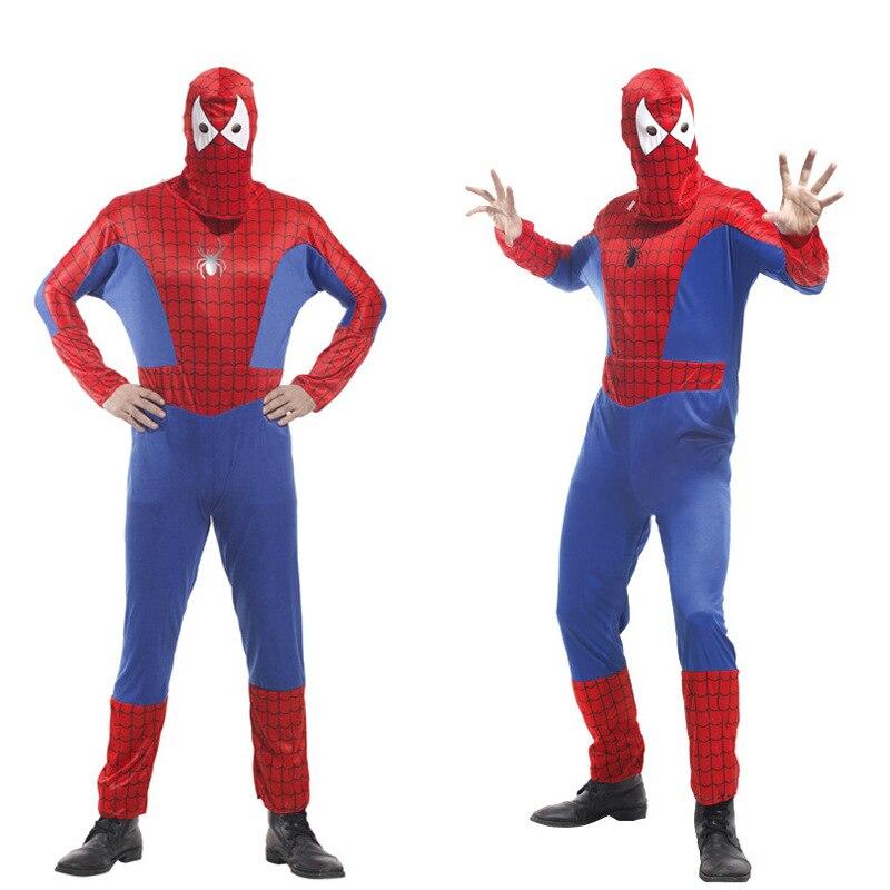 Halloween Cosplay Spider Man Clothes Adult Spiderman Costume Red and Blue аксессуары для косплея cosplay