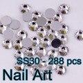 Brillante! SS30 288 unids Vuelta Espalda Plana de Cristal Del Arte Del Clavo Rhinestones Para Uñas Arte Zapatos Y Diseño DIY