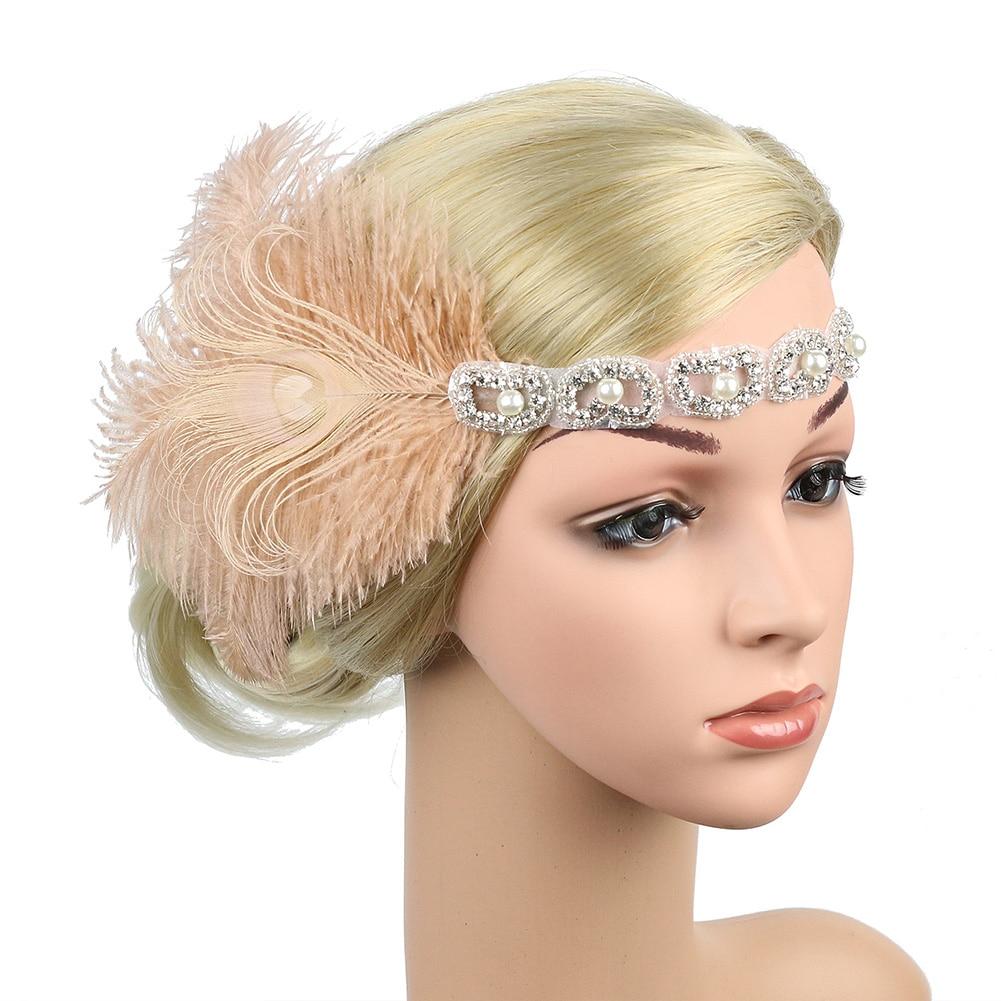 Fascinator Retro Women Headband Rhinestone Beaded Peacock Feather Hair Decoration Ladies Stage Show Party Sequin Headdress