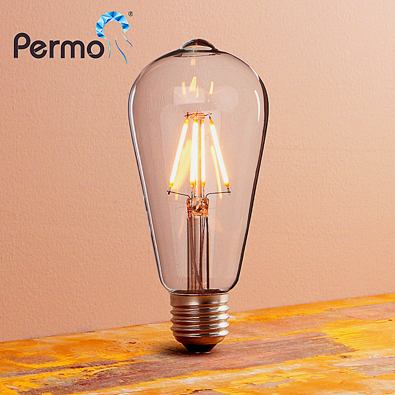 PERMO Industrial E27 Retro Clear Glass Vintage LED Dimmable edison lamp filament bulbs for indoor lighting energy saving 4/6/8W free shipping globle g125 amber glass led 4w spiral filament lamp for vintage edison fixture e27 220v lighting bulb