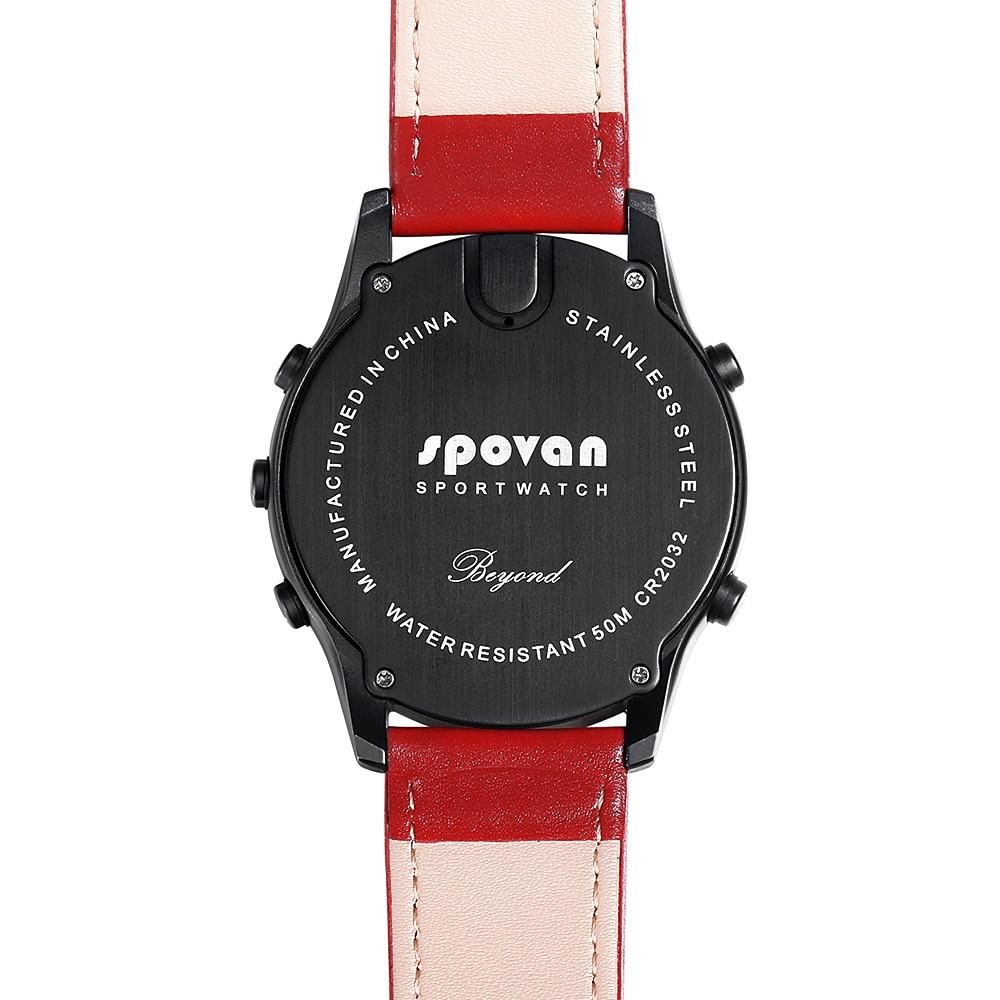 SPOVAN Men Women Sport Watch Fashion Ultra Thin Carbon Fiber Dial Red Genuine Leather Altimeter Barometer Multifunction watches - 4