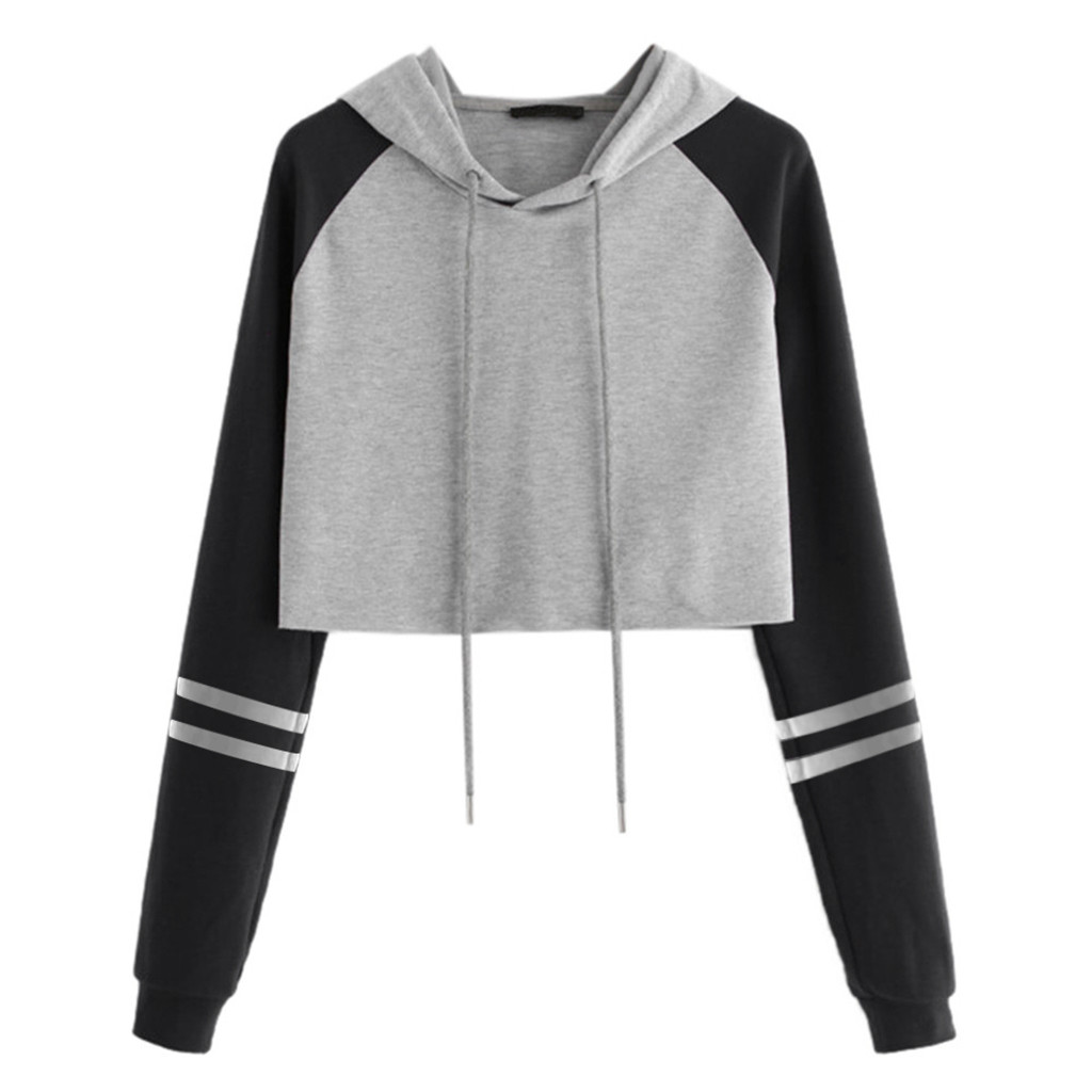 Women's Cropped Hoodie Pullover Tops Long Sleeve Striped Streetwear Casual Drawstring Short Hooded Sweatshirts Women Clothes