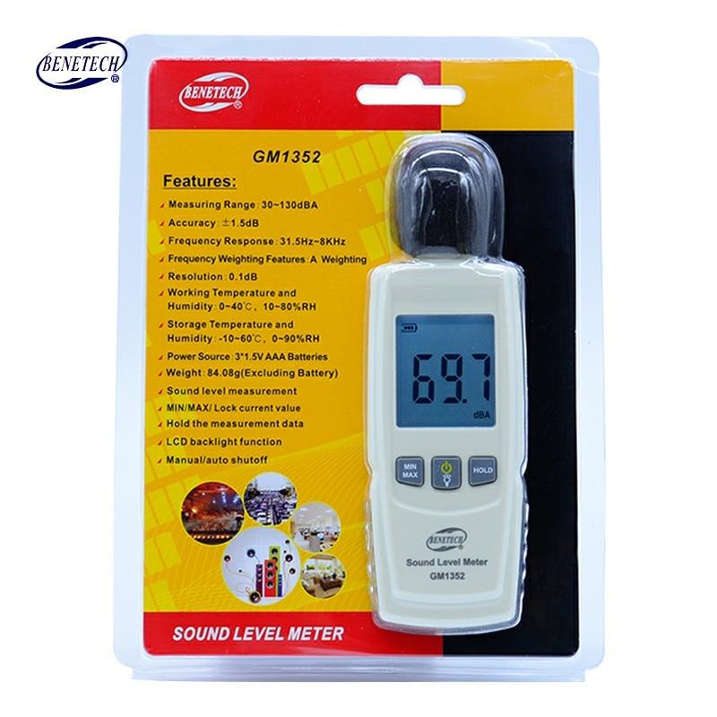 Benetech Digital Sound Level Meter Lärm Tester 30-130db In Dezibel Lcd-bildschirm Noisemeter Gm1352