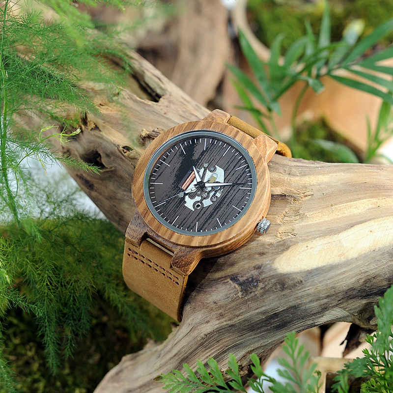 Image 4 - BOBO BIRD Watch Men Real Leather Band Wooden Quartz Wooden Watches Mens Wristwatch Great Mens Gift relogio masculino W H29watch forwatches for menwatch watch -