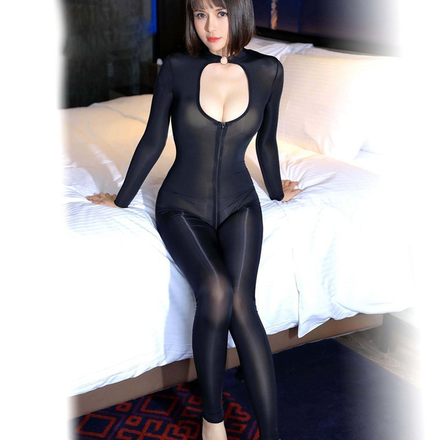 Women Super Thin Skinny Glossy Bodysuit Silk Slippery Tighten Jumpsuit Hollow Out Chest Choker Necklace Collar Bodysuits