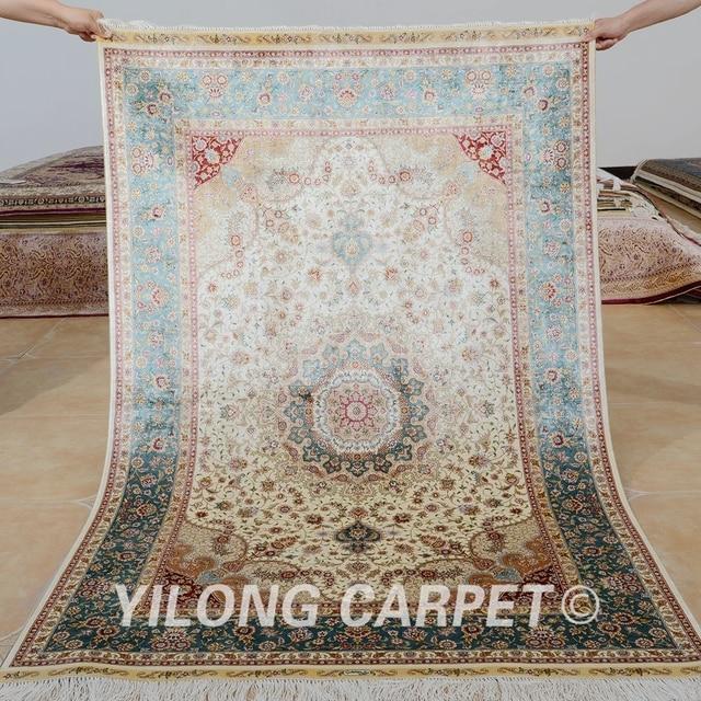 Yilong 4x6 Turkish Silk Carpet Vantage Medallion Beige Persian Rug Shop 0099