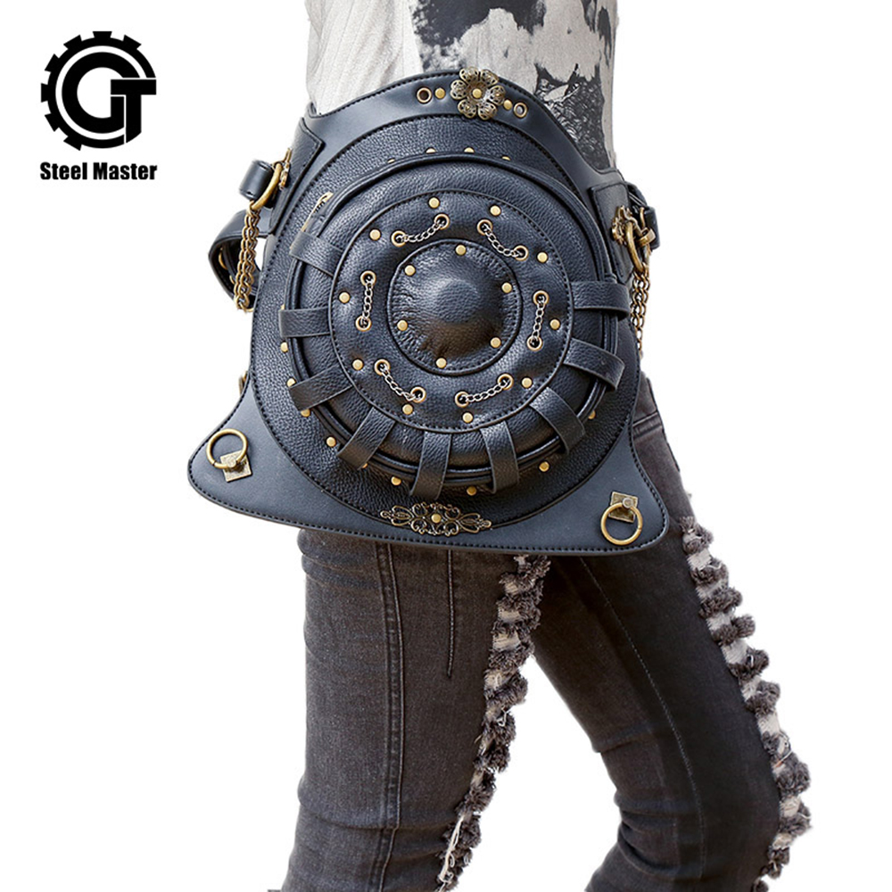 Steampunk Backpack bags PU Leather Punk Retro Rock Bag Halloween Gothic Backpack Unisex Personality Bag 2018 pu leather velvet blood halloween choker page 2