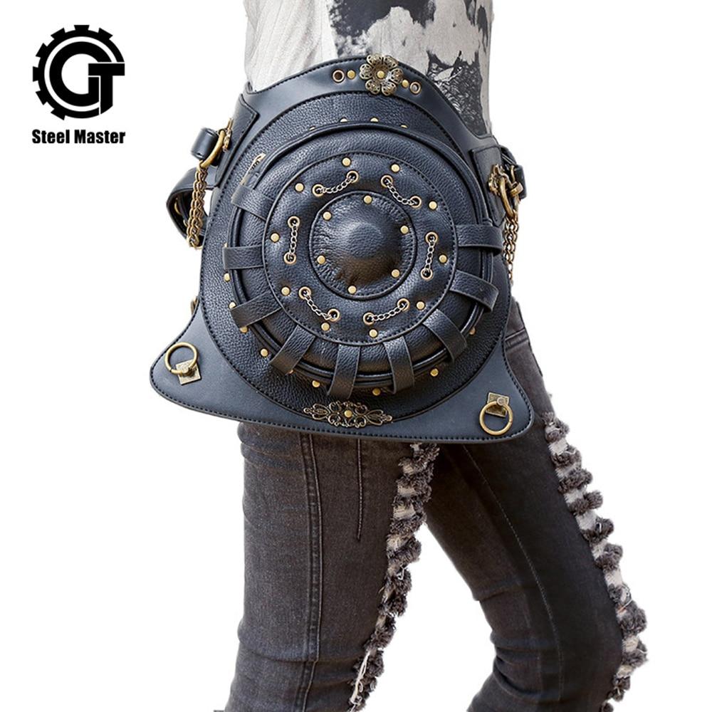 Steampunk Backpack bags PU Leather Punk Retro Rock Bag Halloween Gothic Backpack Unisex Personality Bag 2018 недорго, оригинальная цена