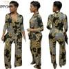 IMYSEN S XXXL Fashion Print Plus Size Jumpsuit Women Romper Spring Autumn Winter V Neck Long