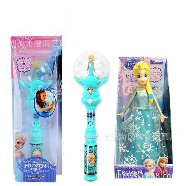 Disney congelados frozen let it go magic wand regalos de navidad luz de proyección rotación elsa juguetes musicales para niños juguetes creativos