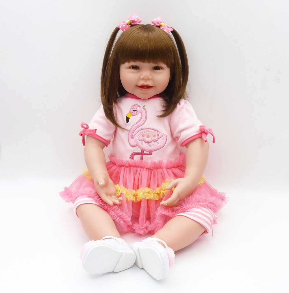 60cm Silicone Reborn Baby Doll Toys 24inch Vinyl Princess Toddler Smile Girl Babies Doll Birthday Gift Play House Toy Alive Bebe 60cm silicone vinyl reborn girl baby doll toys 24inch princess toddler babies dolls child fashion birthday gift play house toy