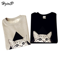 HziriP Harajuku Flocking Autumn Winter Warm Sweatshirts Women 2017 Animal Printed Long Sleeve Moletom Mujer Plus