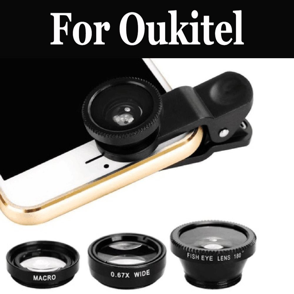 3in1 Clip On Fisheye <font><b>Camera</b></font> Lens+Wide Angle+Macro Cell Phone For <font><b>Oukitel</b></font> K5000 Mix 2 K8000 C9 C11 <font><b>Pro</b></font> U18 K6 K10 <font><b>K6000</b></font> Premium image