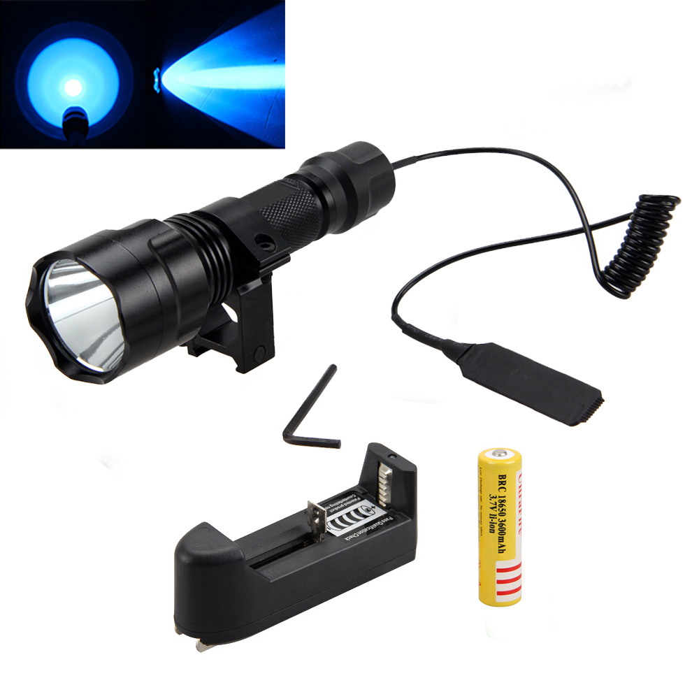 Tactical Blue LED Flashlight Hunting Light Lamp Torch +Remote Pressure Switch+Mount Gun