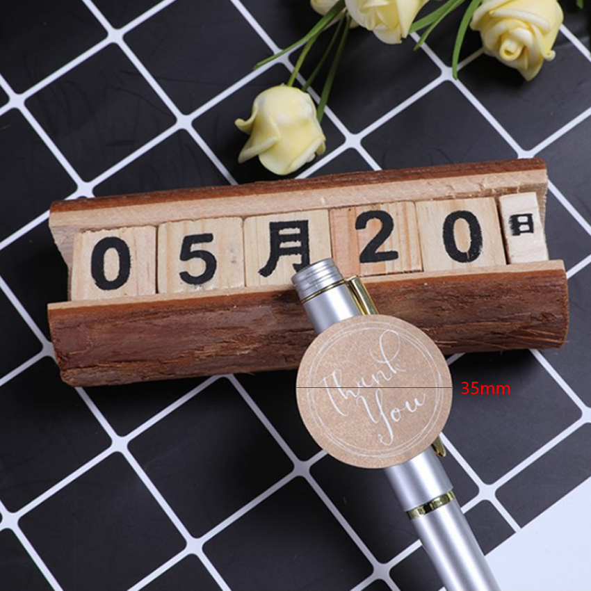 Купить с кэшбэком 120pcs/lot Cute Round Thank You  kraft Paper Label Sticker For Handmade Products DIY Self-adhesive Cake Packaging Label