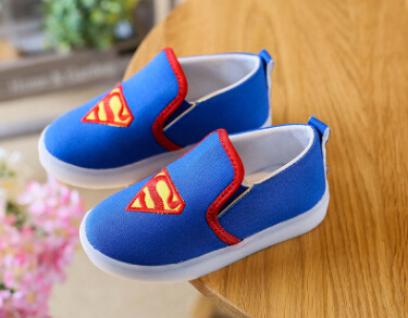 KKABBYII Kids Shoes With Light Boys Led Sneakers New Spring Spider-Man Batman Superman Casual Lighted Baby Girls Shoes
